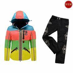 B0GNER Winter Ski Women Neah-D Down Blue Ski Jacket and Black Ski Pants Small