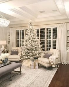 35 Fantastic Ideas to Decorate Your Room For Christmas Fantastic Ideas and new design concept for Christmas Christmas Interiors, Christmas Living Rooms, Christmas Home, Xmas, Snowy Christmas Tree, White Christmas, Pink Christmas Decorations, Holiday Decor, My Living Room