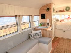 Fern the Bus Conversion Home Video Tour and Photos School Bus Tiny House, School Bus Camper, Bus Living, Living Spaces, Small Living, Living Rooms, Motorhome, Bus Remodel, Minibus