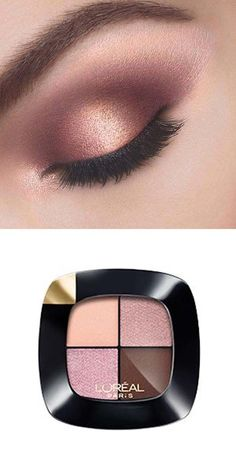 Create this rose gold and mauve look using Loreal's new Colour Riche Pocket Palette Eye Shadow in Avenue Des Roses. This look is perfect for Valentine's Day.