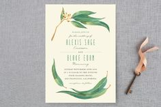 """Eucalyptus Leaves"" - Rustic, Floral & Botanical Wedding Invitations in Eucalyptus by Four Wet Feet Studio."