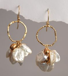 White Keshi and Gold Freshwater Pearls Earrings
