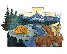 Camping en zonas nórdicas. #ilustración