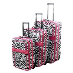 All-season Vacation Expandable 3-piece Upright Luggage Set - Pink Zebra Stripe
