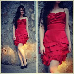 #red #dress #vestido #roja #corto #small #elegante #prom #satin #Modni Studio Linda #Linda