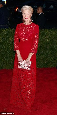If you buy one garment in red this autumn, make it a statement red dress like 70-year-old Helen Mirren