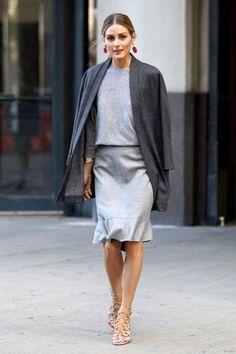 Women's Charcoal Open Cardigan, Grey Crew-neck Sweater, Grey Pencil Skirt, Beige Leather Heeled Sandals