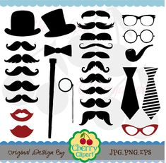 Mustache Party Digital Clipart Set Personal and by Cherryclipart