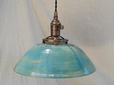 Pendant lighting hanging ceiling light Handmade pottery lighting with handstamped textures in a beautiful turquoise Hanging Ceiling Lights, Ceiling Decor, Kitchen Lighting Fixtures, Light Fixtures, Ceiling Pendant, Pendant Lighting, Hand Gestempelt, Restaurant Lighting, Metal Canopy