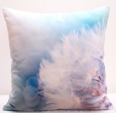 Poszewki i poduszki ozdobne błękitne z białym dmuchawcem