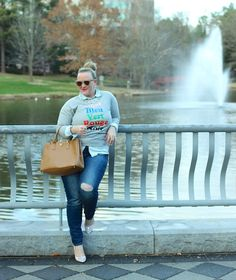 JCrew French Colors Sweatshirt Jenna Wessinger Just a Touch Too Much Atlanta Fashion Blogger Winter Outfit