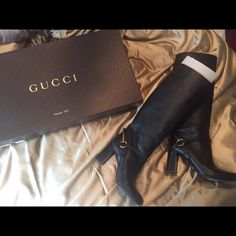 Gucci boots Black leather boots, gold detailing, perfect condition aside from the soles. They are a size 9 but run small so more for a size 8.5 Gucci Shoes Heeled Boots