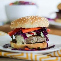 Thai turkey burgers are made with a little coconut milk, curry powder, and fresh ginger. Add homemade curry yogurt sauce and Asian cabbage slaw to make this a go-to summer burger recipe! Healthy Dinner Recipes, New Recipes, Healthy Snacks, Healthy Eating, Favorite Recipes, Skinny Recipes, Special Recipes, Yummy Recipes, Pastas Recipes