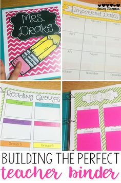 Buiding the Perfect Teacher Binder. Tons of ideas on this blog post for Teacher Organization and your teacher binder. Great for new teachers or experienced teachers!