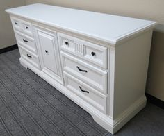 This long, dresser has been redone in china white. Furniture, Home Fix, 9 Drawer Dresser, Redo Furniture, Painted Furniture, Dresser Makeover, Diy Home Interior, House Interior, Home Diy