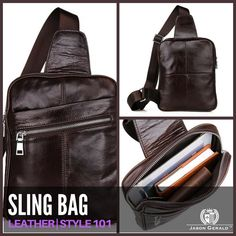 LEATHER SLING BAG by Jason Gerald  100% Guarantee Genuine Leather Sling Bag Size approximately 8″ L x 1.5″ D x 10″ H inches (20cm L x 4cm D x 25.5cm H) Coffee color Weight: 0.40KG, .88 lbs The strap be able to adjusted length freely, this bag may do two uses: backpack, chest bag Silver tone hardware Zipper top closure Outside is one zippered pocket in the front Inside is nicely lined with durable fabric, has a zippered pocket, and a additional pocket fit for wallet and mobile phone #fashion…