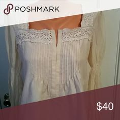 Blouse Tucked front, lace trim, detailed puff sleeve, SILK  SUNDANCE Tops Blouses