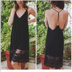 Black lace extender Dress Nwot also available in black . Perfect as shown or for layering . Size small and medium and large Vivacouture Dresses