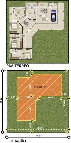 ProjetarCasas: Planta de Casas | Planta de casa térrea, 3 Quartos, 2 garagens e varanda gourmet - Cód 46
