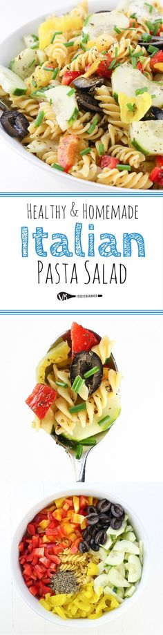 Healthy Italian Pasta Salad with a Homemade Italian Dressing. This is a Trifecta of an Italian Salad because it's Gluten-Free, Dairy-Free and Vegan Friendly!
