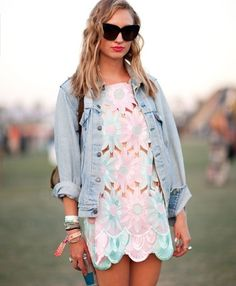 love the cut-out dress and faded jean jacket!