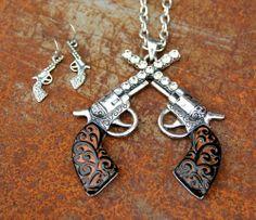 Crossed Pistols and Rhinestones Necklace Set, $16.00