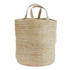 Madam Stoltz Natural & Silver Hemp Basket: Our Natural Hemp Basket has a beautiful silver thread running through and is equally suitable for use as a storage basket around your home as well as a shopping or tote bag.