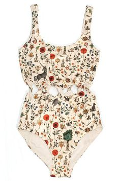 One-Piece Swimsuits to Pack for Your Warm-Weather Vacation This vintage-inspired print (featuring unicorns and medieval florals) avoids looking dated through the peek-a-boo twists at the waist. Summer Suits, Summer Wear, Fun One Piece Swimsuit, Lace Swimsuit, Unicorn Swimsuit, Lingerie Babydoll, Mode Cool, Estilo Lolita, Cooler Look