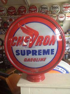 Chevron Gas Gasoline Oil Sign Pump Globe