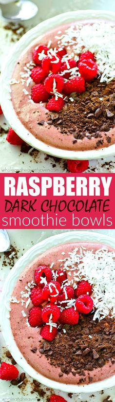 For the ultimately EASY week morning breakfast, these raspberry-packed dark chocolate smoothie bowls are a must-try! So healthy and filling, it'll keep you full for hours!
