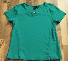 Womens Size Large Rafaella Classic Solid Teal Blue Stretch Blouse Top Shirt #Rafaella #KnitTop #EveningOccasion