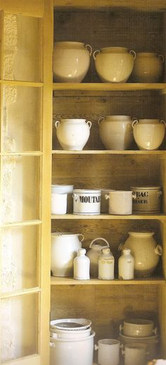 French country faience in a beautifully rustic cupboard. French Decor, French Country Decorating, French Farmhouse, French Kitchen, Farmhouse Decor, Rustic French, French Cottage, Open Kitchen, Yellow Cottage