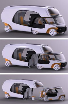 Colim (Colors of Life in Motion) concept by designer Christian Susana; bridges gap between Motorhome / caravan / car; 90mph