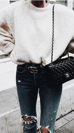 crewneck sweater + gucci belt + distressed denim jeans + chanel 2.55 | designer handbags #streetstyle
