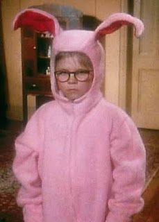 "Ralphie dressed in the pink bunny suit in ""A Christmas Story"" . Aunt Clara had labored under the delusion that I was not only perpetually 4 years old, but also a girl. A Christmas Story, Christmas Movies, Pink Christmas, Merry Christmas, Holiday Movies, Christmas Stuff, Vintage Christmas, Christmas Collage, Christmas Door"