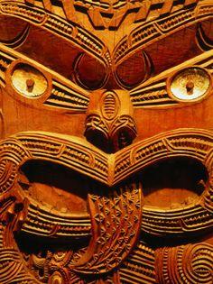 Historic Maori Carving in Oago Museum, Dunedin, New Zealand