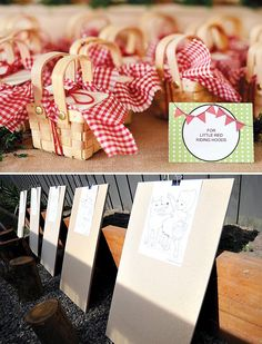 little red riding hood picnic basket party favors and coloring activity