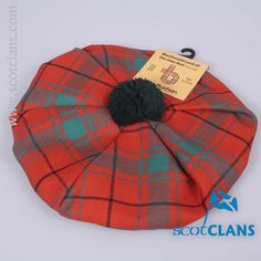 Pure wool tam in MacDonald Lord of the Isles Red Ancient tartan - from ScotClans
