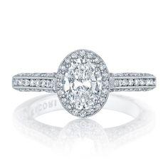 Tacori Classic Crescent HT2550OV Halo Pave Engagement Ring