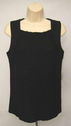 LIZ CLAIBORNE Tank Top Cami Black Pucker Texture Stretch Women's Size M #LizClaiborne #TankCami #Casual