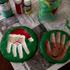 Homemade Christmas keepsakes- Santa & Rudolph hand imprint~ make the salt dough yourself & bake for several hours before painting & sealing. Cute Christmas gift