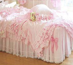 DIAIDI,Luxury Lace Ruffle Bedding Sets, Romantic Pink Princess Duvet Cover Set,Wedding Bed Cover Set,Queen King Size,4Pcs (QUEEN)