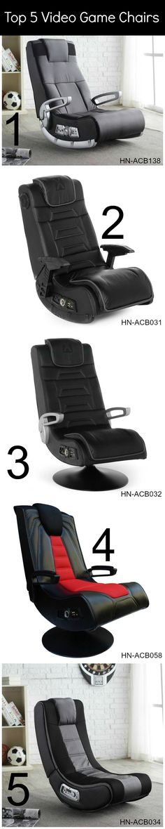 Top 5 video game chairs. Perfect gift!.  Here are more free reviews. http://astore.amazon.com/ju0f3b-20/search?node=98&keywords=gaming+chair&x=15&y=11&preview=