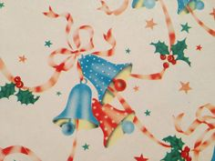 Vintage Christmas Wrapping Paper - Patriotic Red White and Blue Christmas Bells and Stars - 1 Unused Full Sheet Christmas Gift Wrap