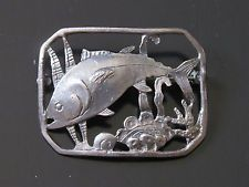 Vintage Hobe Sterling Silver Brooch - Fish, Pin, Signed