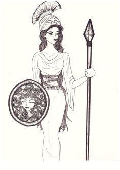 ΑΘΗΝΑ Ancient Greece, Greek Mythology, Half Blood, A3, Coloring