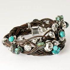 Tribal - bracelet - 38 cm long; wrap around leather braided bracelet