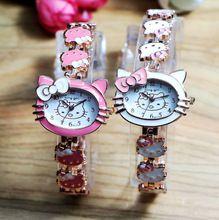 Ventas calientes de Oro Rosa de Tono Cute Hello Kitty Reloj de Los Niños Las Mujeres Señora Dress Fashion Relojes de pulsera de Cuarzo 9513(China (Mainland))
