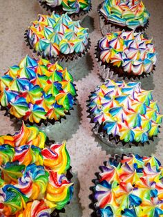 Rainbow Cupcakes! So much bright color, I LOVE them!!
