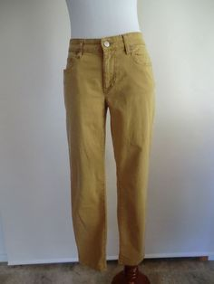 EILEEN FISHER PARROT YELLOW STRETCH COTTON SKINNY LEG JEANS MADE IN PORTUGAL 6 #EileenFisher #Skinnyleg